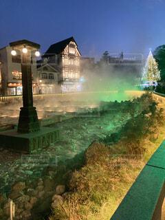 温泉,夜,屋外,草,樹木,明るい,草津