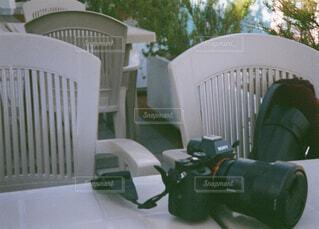 カメラ,緑,椅子,一眼レフ,置き画