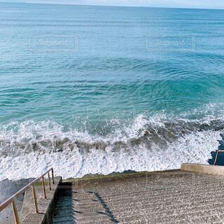 海,夏,階段,水,波打ち際