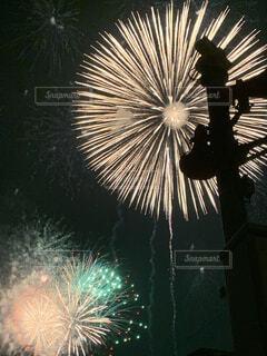 空,花火,暗い,花火大会,明るい,景観