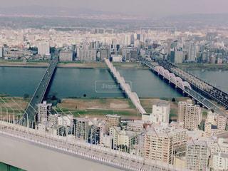 橋,大阪,川,見下ろす,穏やか,hinakunmama,梅田空中庭園