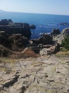 自然,海,空,屋外,ビーチ,水面,山,光,岩,崖,東尋坊