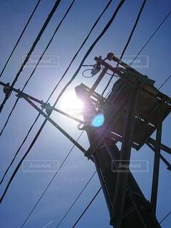 空,屋外,雲,電線,電気,明るい,景観,ライン,ワイヤー,ポール,電源供給,公益企業