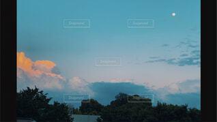 自然,空,屋外,雲,青,水色,樹木,月,コントラスト,フィルムカメラ,エモい