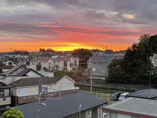 朝日,雲,夕暮れ,窓,家,樹木