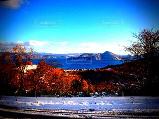 自然,風景,空,雪,屋外,湖,雲,山,樹木,ドライブ,洞爺湖