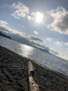 自然,海,空,屋外,ビーチ,雲,晴れ,砂浜,水面,流木,思い出,日中