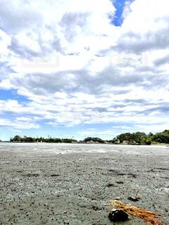 海,空,雲,砂浜,松島,干潮