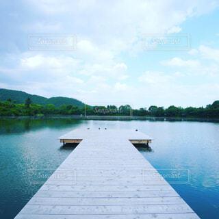 自然,空,屋外,湖,雲,ボート,川,水面,山,樹木