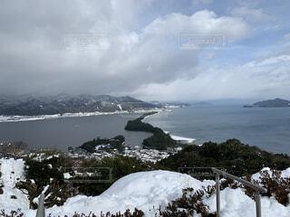 自然,空,雪,屋外,湖,雲,水面,山,天橋立