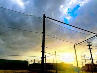 空,夕日,屋外,雲,夕暮れ,田舎,校舎,学校