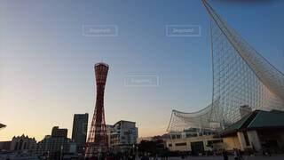 神戸,ポートタワー,夕暮