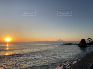 自然,風景,海,空,富士山,屋外,湖,ビーチ,雲,砂浜,夕暮れ,水面,海岸