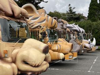 動物,屋外,道路,樹木,旅行,バス,像,遊び場,彫刻,富士サファリパーク