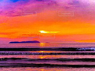 風景,海,空,屋外,太陽,ビーチ,雲,夕暮れ,水面,絵画,日の出