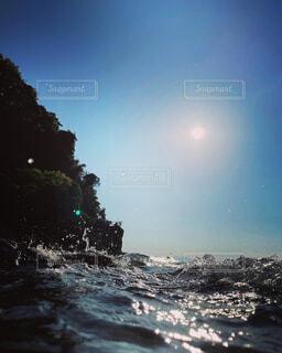 自然,海,空,屋外,ビーチ,水面,樹木,旅行,波しぶき