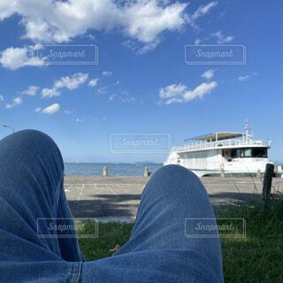 空,屋外,ボート,船,草,人物,人