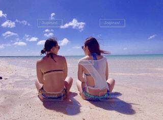 風景,海,空,夏,屋外,砂,ビーチ,水着,日焼け,水面,海岸,沖縄,泳ぐ,少女,人物,人,石垣島,友達,ビキニ,天国,休暇,幻の島,白い砂浜