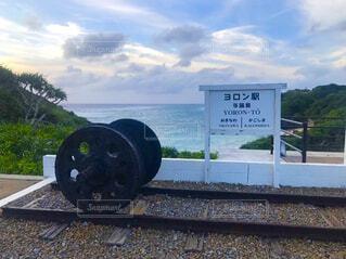 海,空,夏,屋外,雲,沖縄,標識,地面,鉄道,鹿児島,与論島