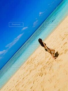 自然,海,空,砂,ビーチ,水面,海岸,沖縄,泳ぐ,人物,人,波照間島,ニシ浜