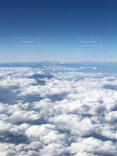 空,富士山,雲,青空,景色,上空