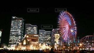 空,観覧車,花火,都会,高層ビル,明るい