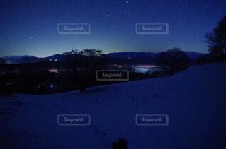 自然,空,夜,雪,屋外,暗い,山,樹木