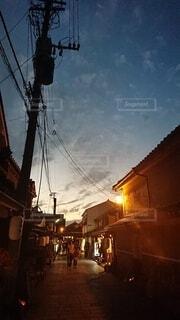 風景,空,雲,夕暮れ,風情,町並,竹灯篭
