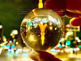 東京タワー,反射,ガラス,ボール,クリスマス,装飾,明るい,ビー玉,バブル,球,逆さま,クリスマス ツリー,クリスマスの飾り