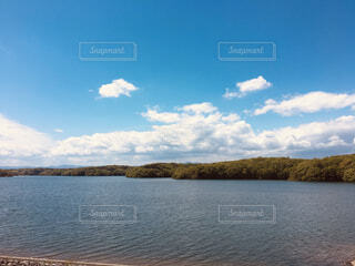 自然,空,秋,屋外,湖,ビーチ,雲,水面,山