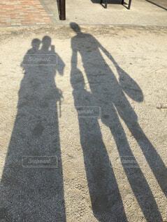 家族,公園,屋外,影,幸せ,地面,夕陽,シャドウ,4人家族