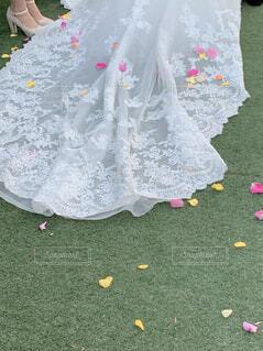 結婚式,花嫁,草,レース,ウェディングドレス,刺繍