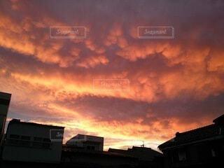 空,屋外,雲,夕暮れ,家