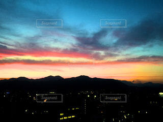 風景,空,夜,屋外,雲,夕暮れ,暗い,背景