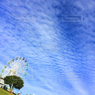 風景,空,芝生,屋外,雲,晴れ,青空,観覧車,青い空,景色,背景