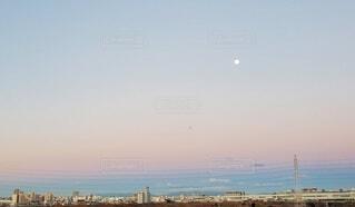 自然,風景,空,ビル,屋外,月,早朝