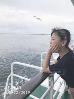 女性,空,屋外,湖,船,水面,人物,人
