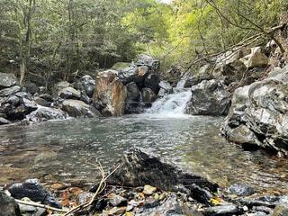 自然,屋外,川,水面,山,滝,樹木,岩,釣り,マイナスイオン,源流,癒しの水場