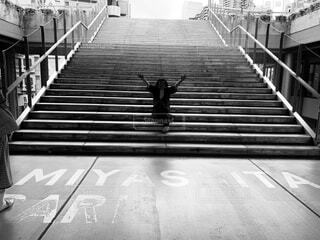屋外,階段,モノクロ,都会,通り,シャドウ,黒と白