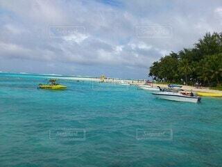 自然,海,空,海水浴,屋外,ビーチ,ボート,青,船,水面,泳ぐ,サイパン,休暇,マニャガハ島