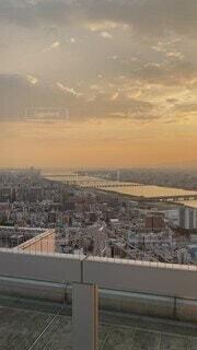 風景,空,建物,屋外,雲,夕暮れ,日没,タワー,都会,高層ビル