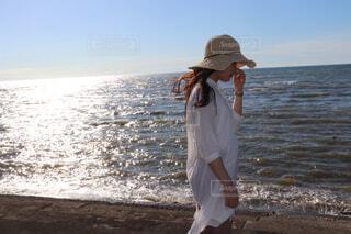 自然,風景,海,空,屋外,ビーチ,帽子,水面,海岸,人物,人