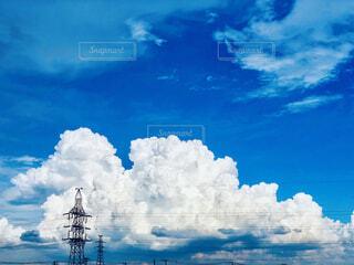 空,夏,屋外,雲,入道雲,水面,夏間近