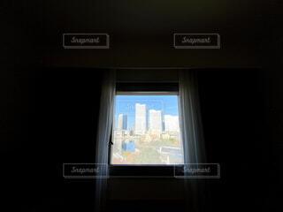 ビル,青空,部屋,窓,カーテン,暗室