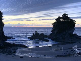 自然,風景,海,空,屋外,ビーチ,雲,夕暮れ,水面,海岸,鹿児島,にしかたかいがん