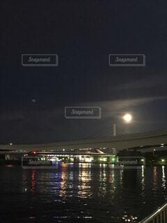 自然,風景,海,空,夜,屋外,ボート,水面,月