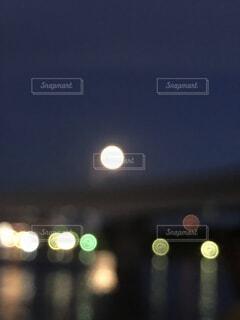 自然,風景,海,空,夜,屋外,水面,ぼかし,月,明るい