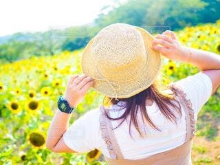 ひまわり畑とわたしの写真・画像素材[4521719]