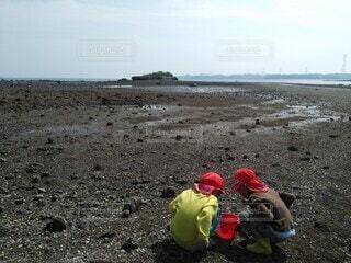 自然,海,空,屋外,ビーチ,帽子,水面,海岸,仲良し,こども,夏休み,潮干狩り,子育て,お出かけ,貝掘り,熱射病対策