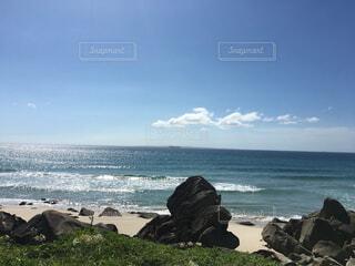 自然,海,空,屋外,ビーチ,雲,水面,海岸,山,岩